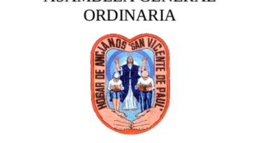Convocatoria para Asamblea del Hogar de Ancianos San Vicente de Paul